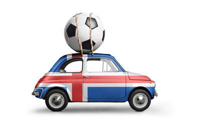 Iceland flag on car delivering soccer or football ball isolated on white background