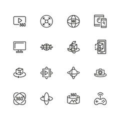 VR Device icons. Set of  line icons. Panoramic camera, screen, gaming. Virtual reality concept. Vector illustration can be used for topics like modern technology, photography, panorama