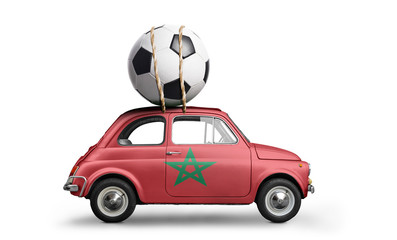 Morocco flag on car delivering soccer or football ball isolated on white background