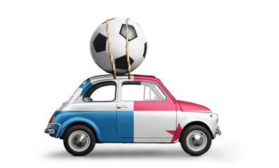 Panama flag on car delivering soccer or football ball isolated on white background
