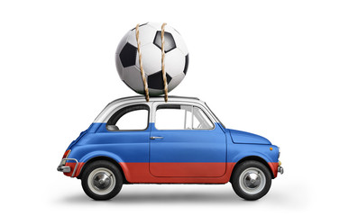 Russia flag on car delivering soccer or football ball isolated on white background