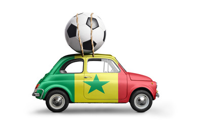 Senegal flag on car delivering soccer or football ball isolated on white background