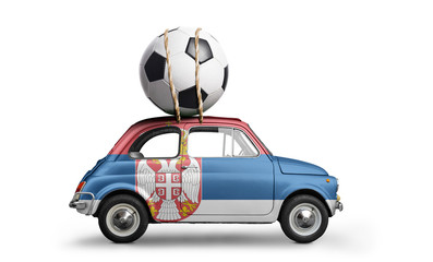 Serbia flag on car delivering soccer or football ball isolated on white background