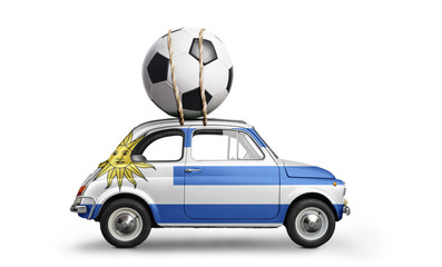 Uruguay flag on car delivering soccer or football ball isolated on white background