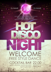 Disco ball background. Hot disco night party poster on open space background