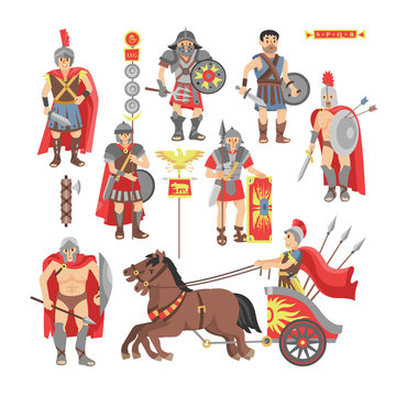 Gladiator vector roman warrior man character in armor with sword or weapon and shield in ancient Rome illustration historic set of greek people warrio fighting in war isolated on white background