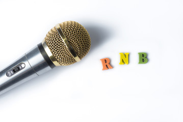 Microphone on a white background with the words RnB