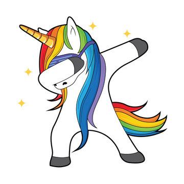 dabbing unicorn with stars