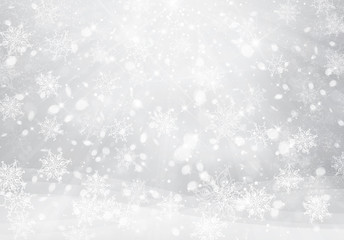 Vector winter, silver snowflakes background. Christmas background.