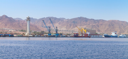 Panorama of Aqaba port, Jordan