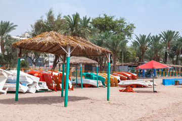 Aqaba beach view with gazebo