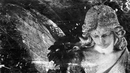 Vintage image of a sad angel. Retro stylized.