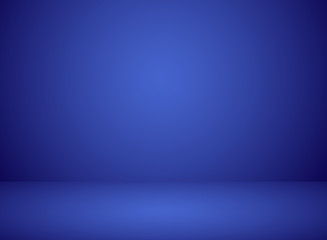 Studio room interior blue color background with lighting effect.