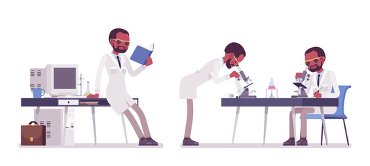 Male black scientist working