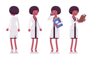 Female black scientist standing