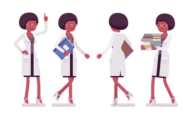 Female black scientist walking