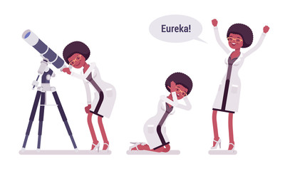 Female black scientist happy with eureka result