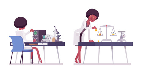 Female black scientist measuring