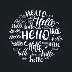 Set of handwritten phrase Hello.Vector calligraphy on white background.
