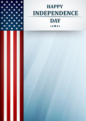 USA Independence Day. Fourth of July greeting card template with american national flag. Vector illustration