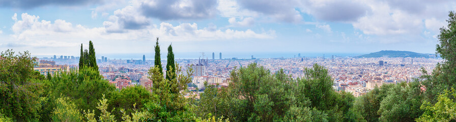 Barcelona, Spain. Stunning panoramic view on city Barcelona from bird eye view.