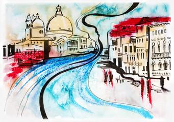 illustration of travel, Venice