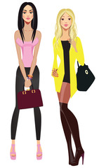 vector image beauty fashion girls, stylish fashionable beautiful women
