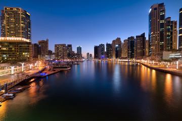 Dubai Marina at beautiful blue hour cityscape blue sky, United Arab Emirates
