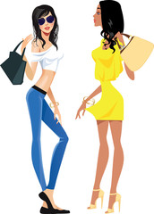 stylish fashionable beautiful women, vector image beauty fashion girls