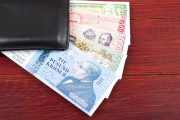 Money from Iceland in the black wallet