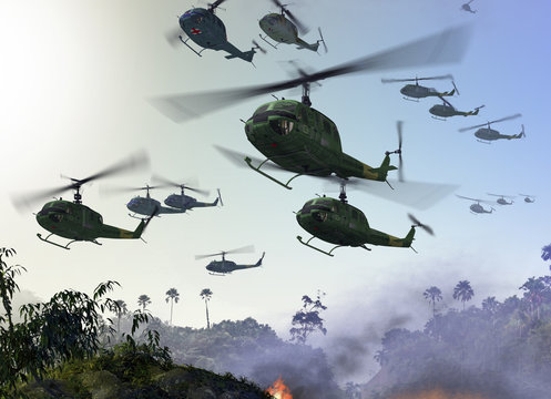 Vietnam War - Helicopters over Jungle