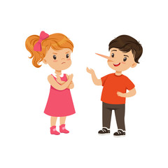Boy with long nose lying to girl with crossed arms vector Illustration on a white background