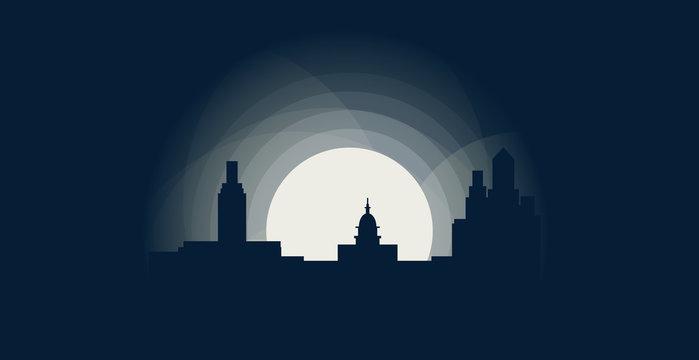 USA United States of America Austin Texas blue night city panorama landscape skyline flat icon logo