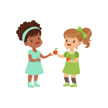 Sweet girl giving an apple to another girl, kids sharing fruit vector Illustration on a white background