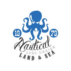 Nautical logo design, land and sea retro emblem with octopus for nautical school, sport club, business identity, print products vector Illustration on a white background