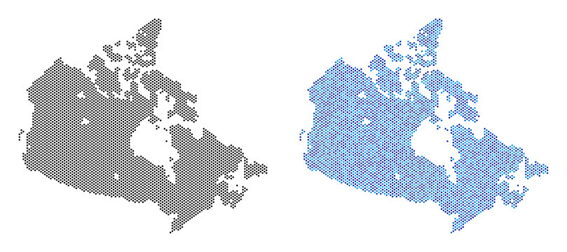 Circle dot Canada map variants. Vector territorial plans in black color and cold blue color tones. Abstract collage of Canada map composed with sphere point pattern.