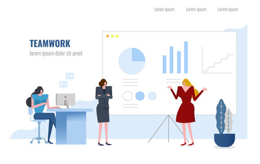 Business people presentation  during the meeting in office. vector illustration.