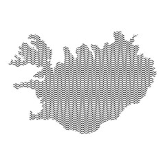 Abstract Iceland country silhouette of wavy black repeating lines. Contour of sinusoid curve. Vector illustration.