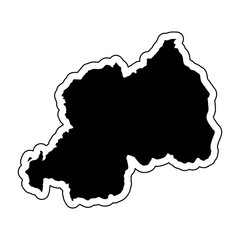 Black silhouette of the country Rwanda with the contour line or frame. Effect of stickers, tag and label. Vector illustration.