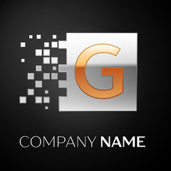Letter G logo symbol in the golden-silver colorful square with shattered blocks on black background. Vector template for your design