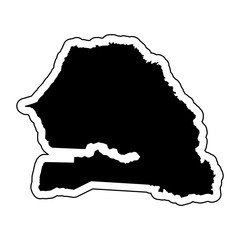 Black silhouette of the country Senegal with the contour line or frame. Effect of stickers, tag and label. Vector illustration.
