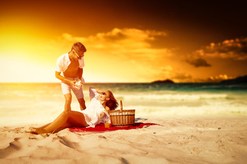 summer time on beach and two lovers