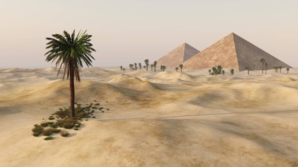 pyramids in the sandy desert, a desert with palm trees and pyramids,
