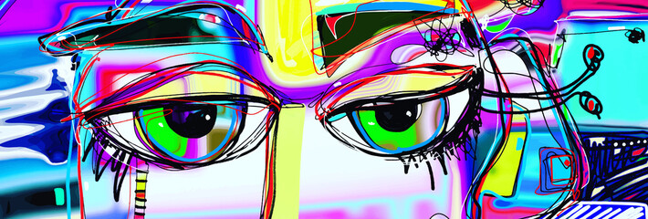 Stores à enrouleur Graffiti digital abstract art poster with doodle human eyes