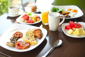 Morning breakfast with omlet and coffee