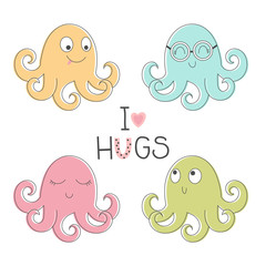 Four cute octopus for children
