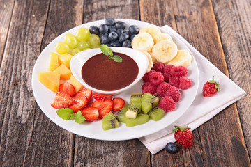 assorted fruit and chocolate sauce