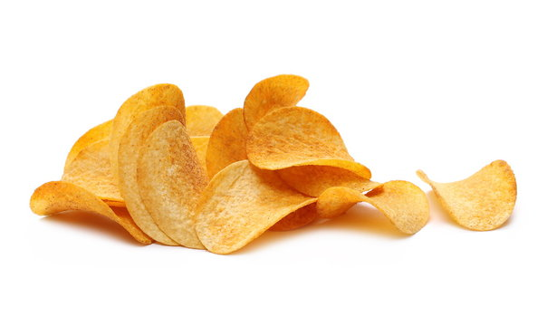 Barbecue flavored potato chips isolated on white background