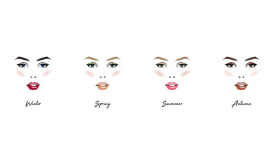 Face makeup set. Seasonal color types for women skin beauty set: Summer, Autumn, Winter, Spring. Young female faces, make up shades matching each type. Vector illustration.