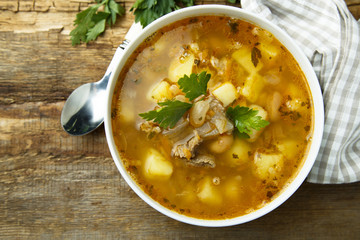 Homemade soup with kidney and beans